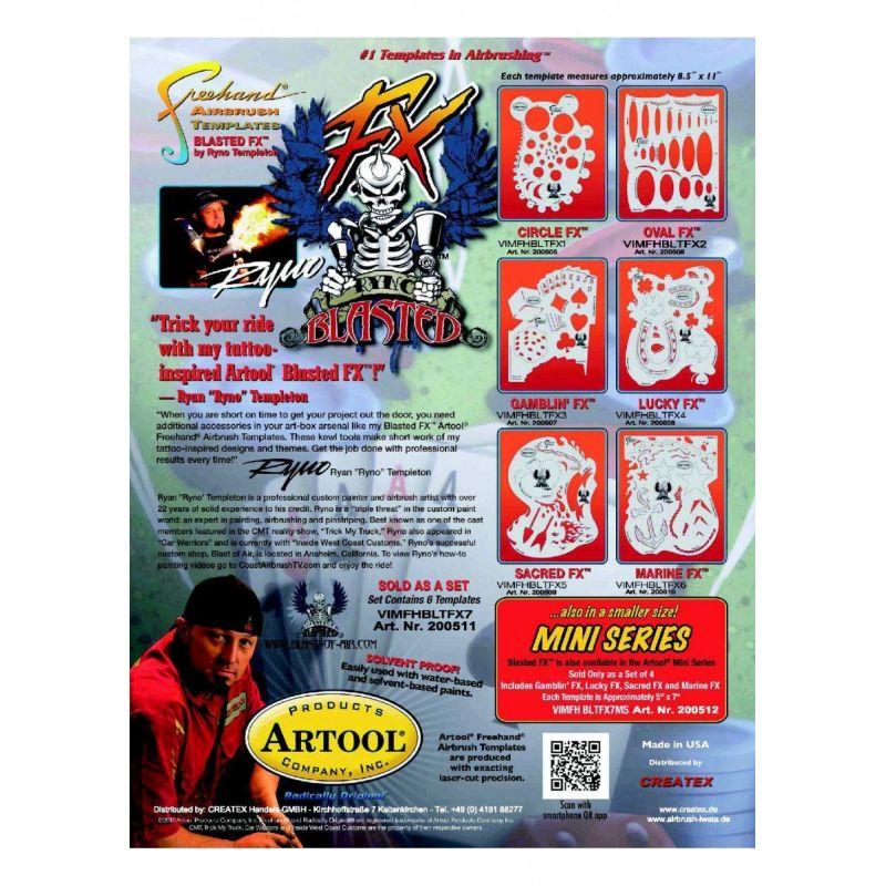 artool - BLASTED COMPLETE SET Airbrush Schablone 200 511