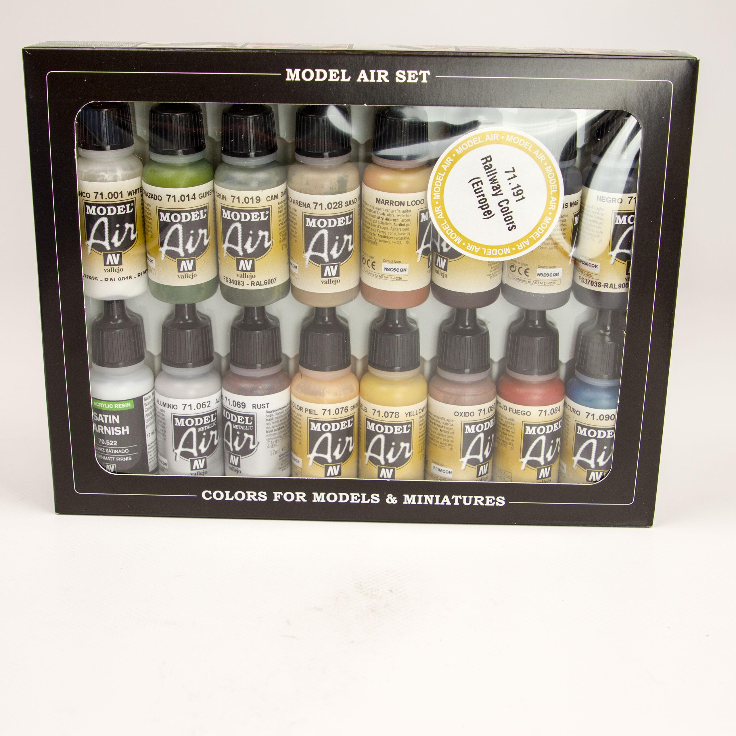Model Air Bahnfarben Set 71.191 Airbrush Farbe 16x 17ml Farbset