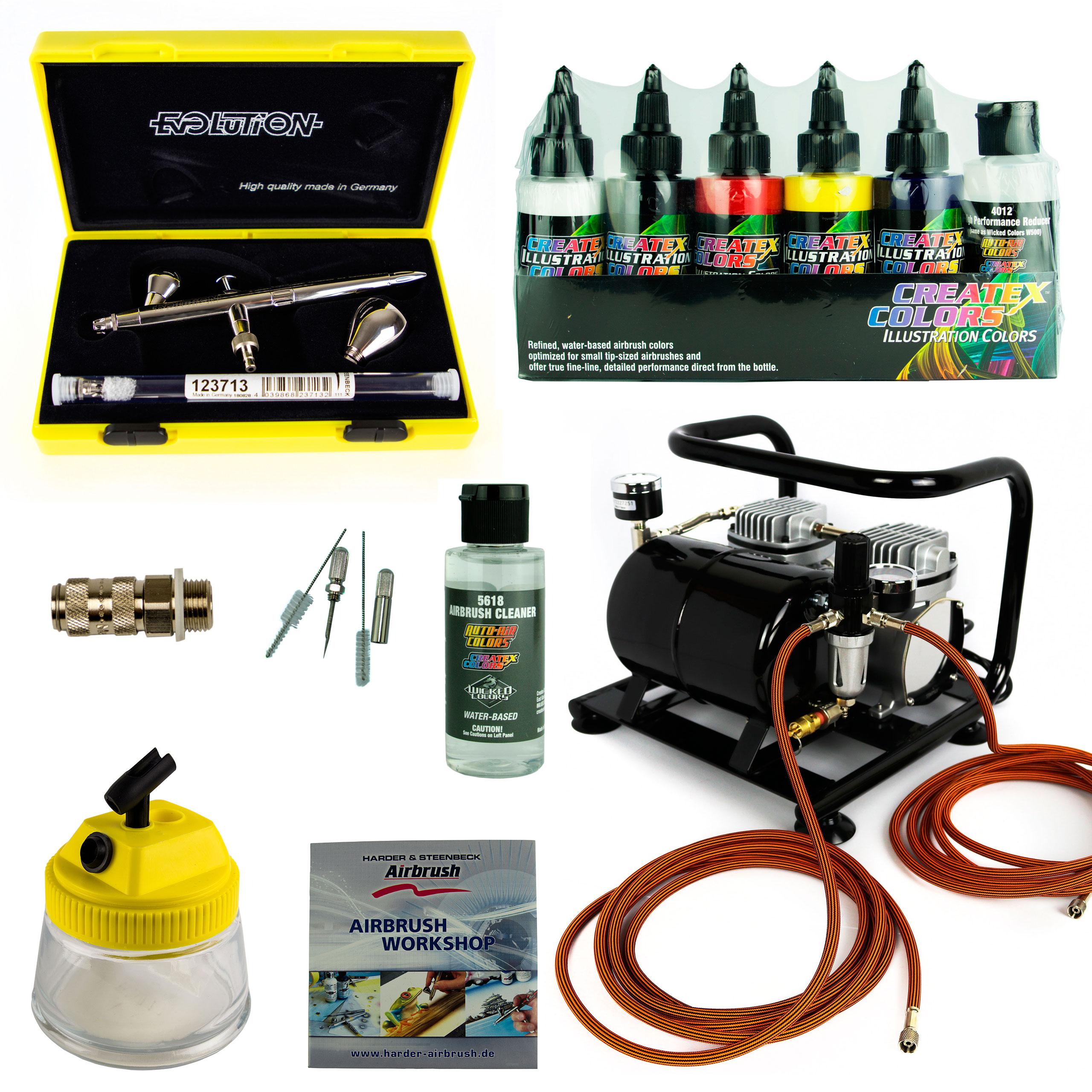Fine-Art Airbrush Set - Evolution Silverline Two in One + Sparmax AC-500 Kompressor - Kit 9202