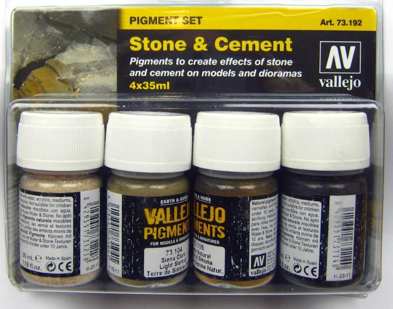 Vallejo Pigmente Set Stone & Cement - 573192 4x35ml Farbenset Stein und Beton