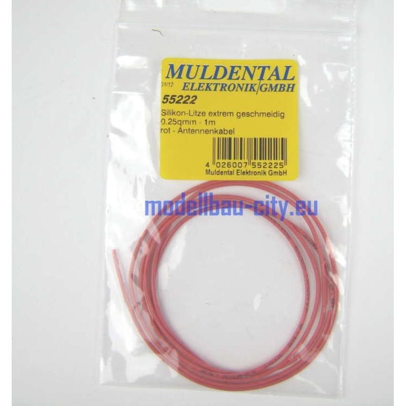 Muldental Silikon Litze 1 Meter rot 0,25qmm 55222