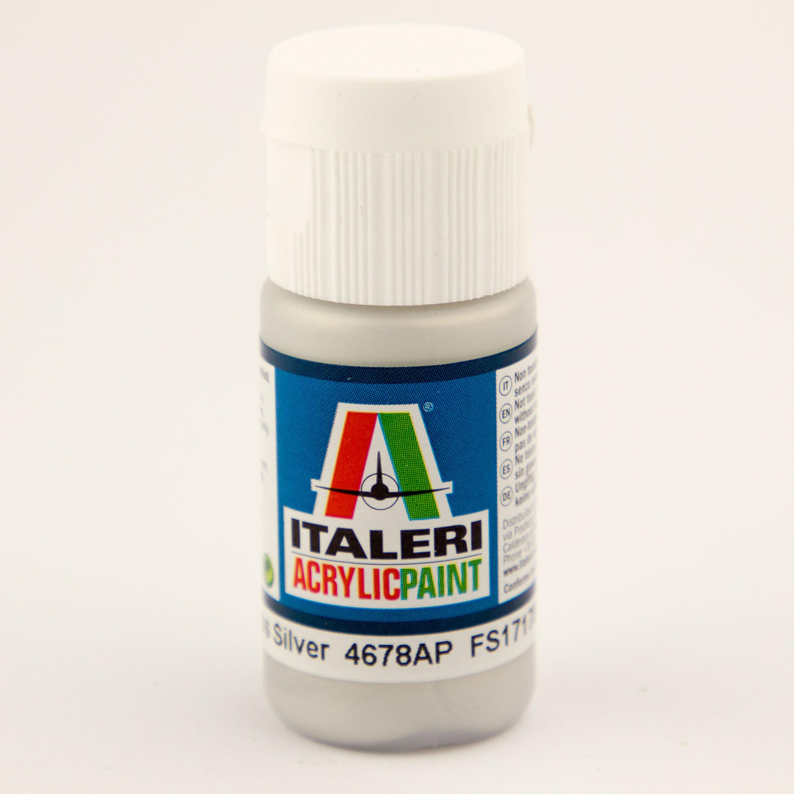 Italeri IT Acrylfarbe 4678 Silber glänzend 20 ml Airbrush Farbe