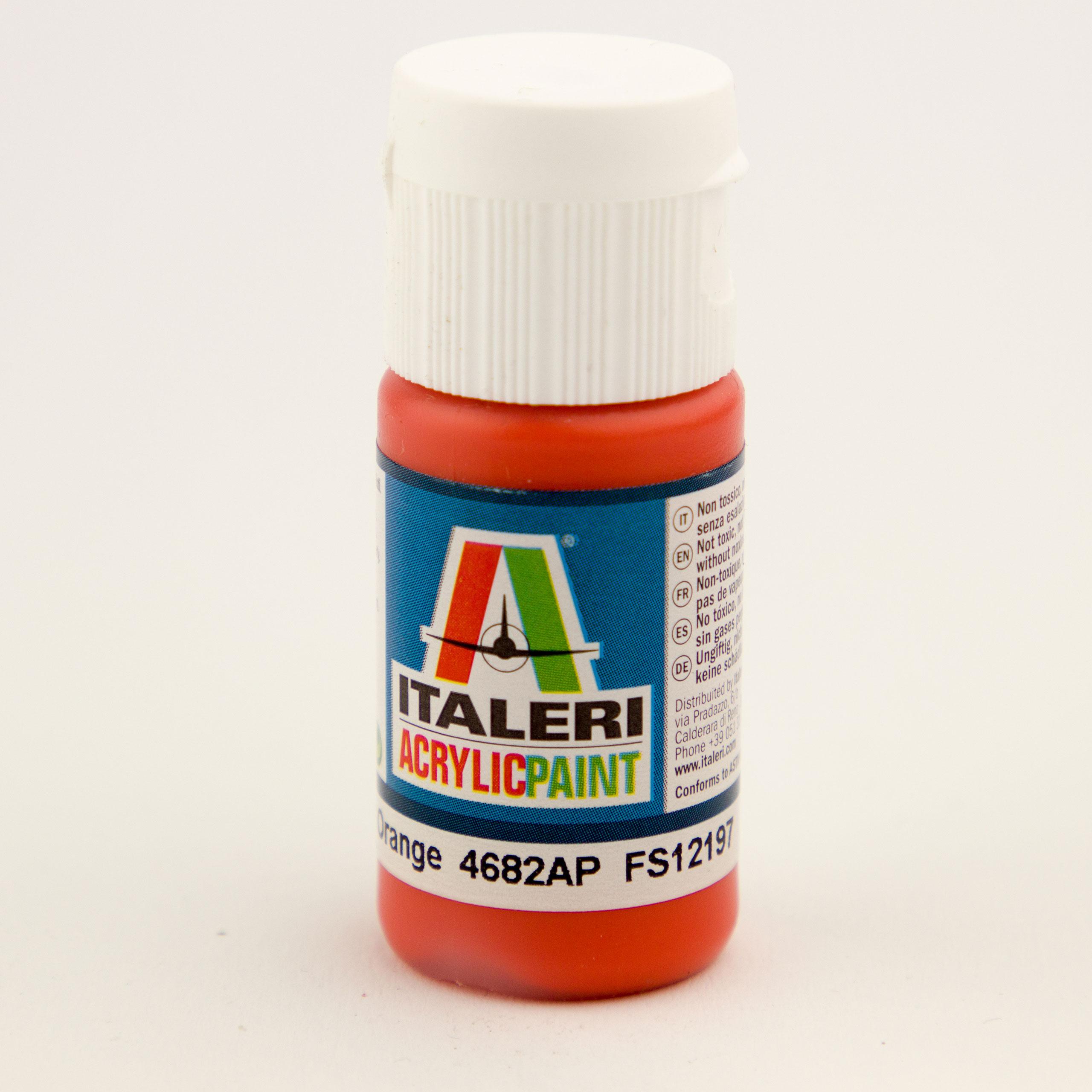 Italeri IT Acrylfarbe 4682 Orange glänzend 20 ml Airbrush Farbe